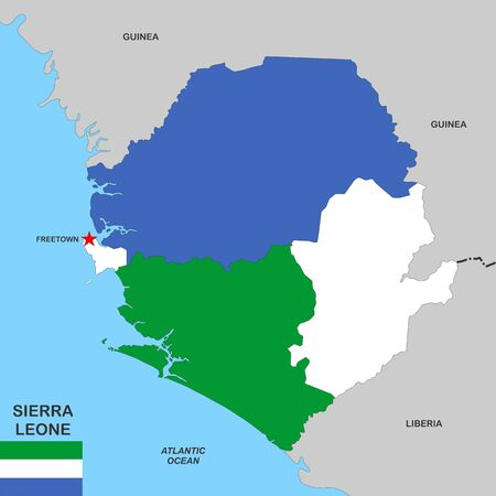 very big size sierra leone political map with flag photo