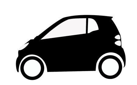 big size: very big size smart car silhouette illustration Stock Photo