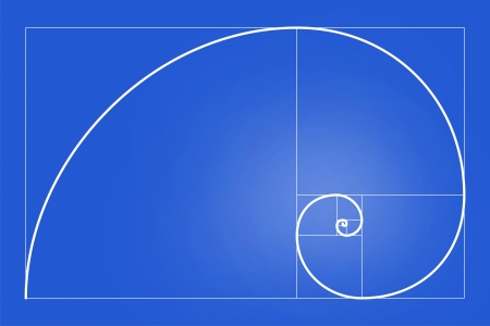 fibonacci number: very big size Golden Ratio Golden Proportion illustration Stock Photo