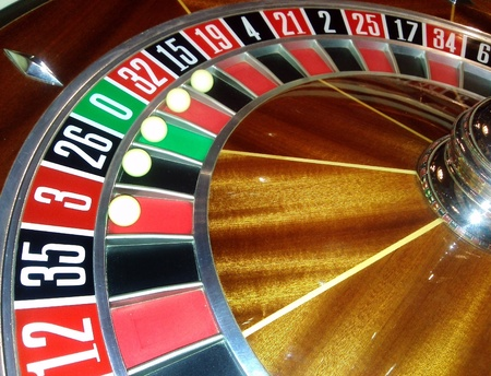 five balls american roulette wheel close detail photo
