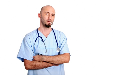 doctor with blue robe over white background smoking photo