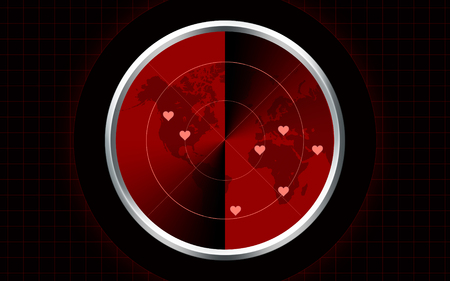computer generated love vintage red radar illustration Stock Photo