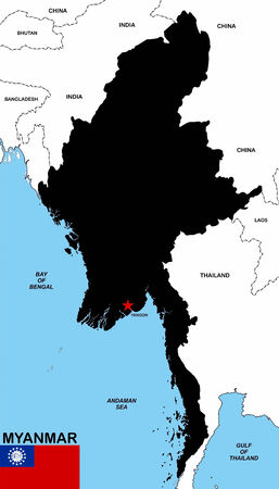 very big size myanmar black map with flag photo