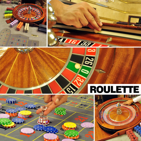 image with a casino roulette table game collage and text photo