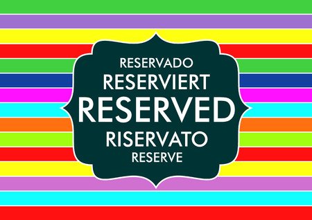 restaurant table reserved sign five languages text symbol photo