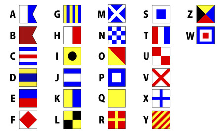International maritime signal flags sea alphabet collection