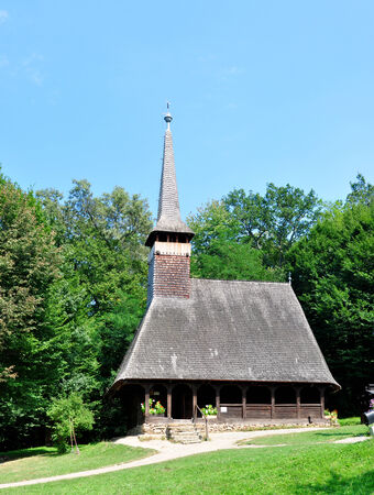 ethno: sibiu romania ethno museum wooden church architecture Editorial