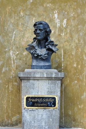 friedrich: Johann Christoph Friedrich von Schiller statue sibiu city romania monument