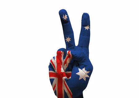 peace sign: Hand making the V sign australia country flag painted