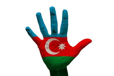 man hand palm painted flag of azerbaijan photo