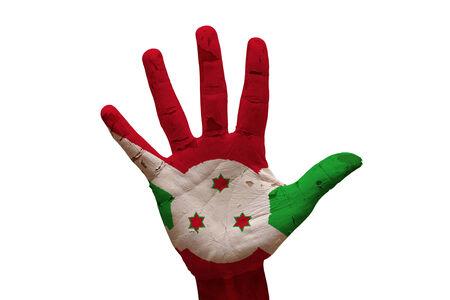 burundi: man hand palm painted flag of burundi
