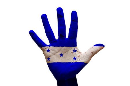 bandera honduras: hombre mano palma pintada la bandera de Honduras Foto de archivo