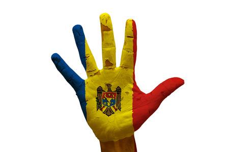 man hand palm painted flag of moldova