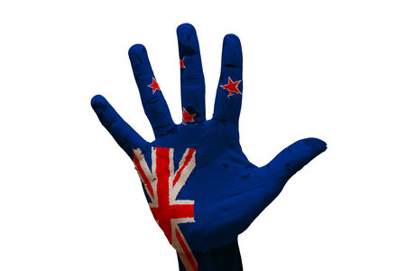 bandera de nueva zelanda: palma hombre mano bandera pintada de nueva zelanda Foto de archivo