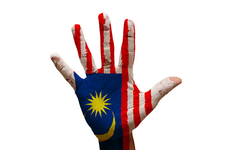 malaysia: man hand palm painted flag of malaysia