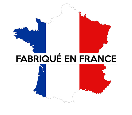 french text: made in france country national flag map shape french text