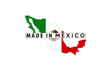 forme: made in mexico country national flag map shape illustration