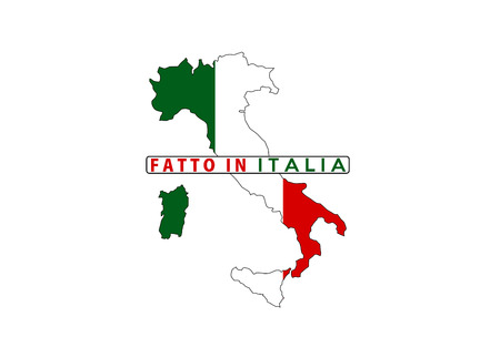 italia: made in italy country national flag map shape with text fatto in italia Stock Photo