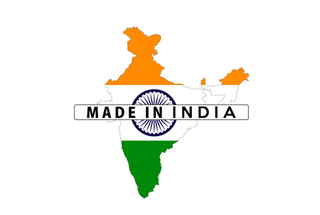 made in india country national flag map shape illustration illustration