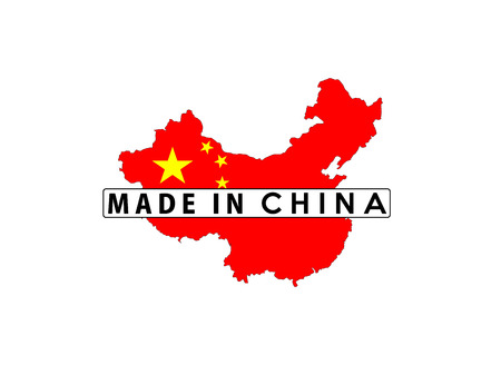 made in china: made in china country national flag map shape with text Stock Photo