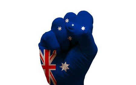 aggresive: man hand fist painted alliance flag of australia