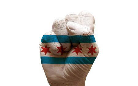 man hand fist painted city flag of chicago