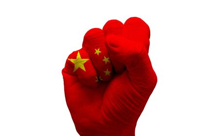 aggresive: man hand fist painted alliance flag of china