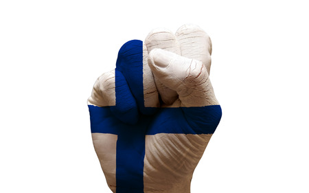 aggresive: man hand fist painted country flag of finland