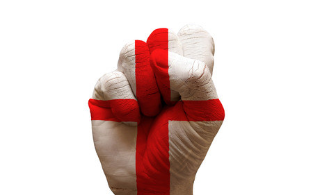 man hand fist painted country flag of england photo