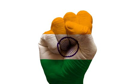 man hand fist painted country flag of india photo