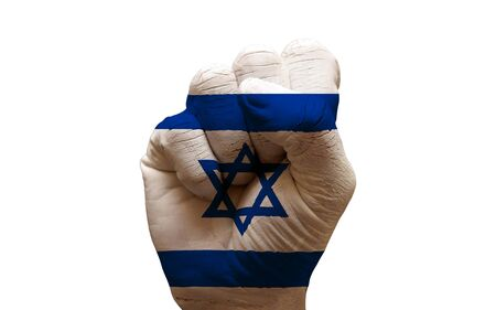 aggresive: man hand fist painted country flag of israel