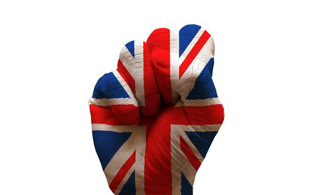 aggresive: man hand fist painted country flag of united kingdom