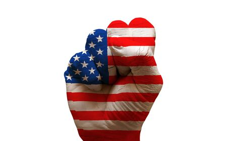 aggresive: man hand fist painted country flag of usa Stock Photo