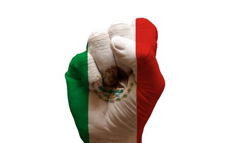 declaration: man hand fist painted country flag of mexico