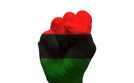 man hand fist painted ethnic flag of afro american Stock Photo