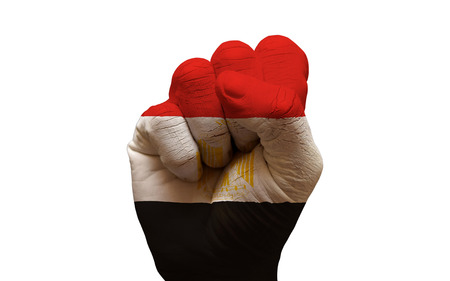 egypt revolution: man hand fist painted country flag of egypt