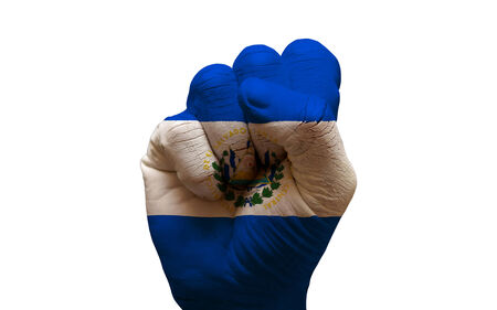 aggresive: man hand fist painted country flag of el salvador