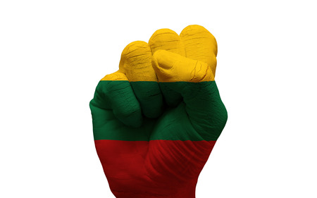 aggresive: man hand fist painted country flag of lithuania
