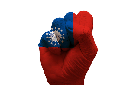 aggresive: man hand fist painted country flag of myanmar