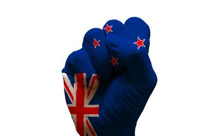 bandera de nueva zelanda: hombre mano pu�o pintado la bandera de pa�s de nueva zelanda Foto de archivo
