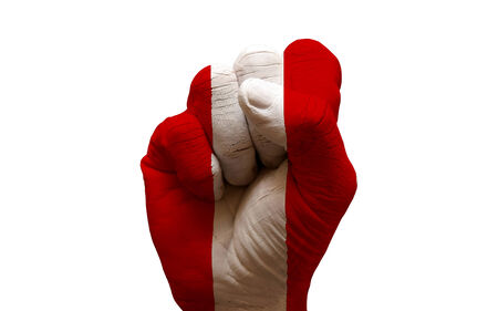aggresive: man hand fist painted country flag of peru