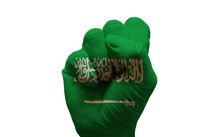 aggresive: man hand fist painted country flag of saudi arabia Stock Photo