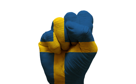 aggresive: man hand fist painted country flag of sweden
