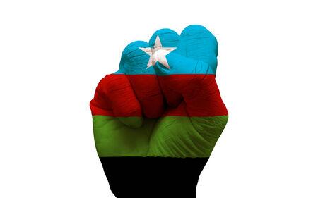 aggresive: man hand fist painted country flag of somalia bantu liberation