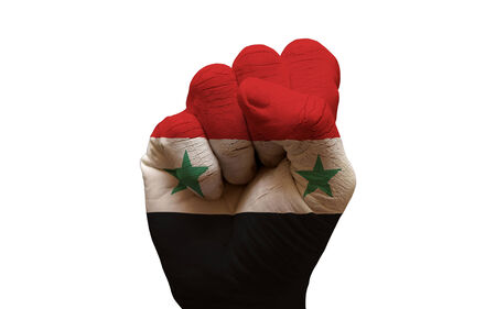 man hand fist painted country flag of syria