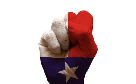 aggresive: man hand fist painted country flag of texas Stock Photo