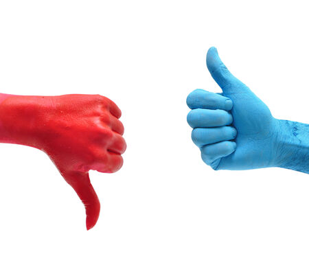 dislike red hand and like blue hand over white photo