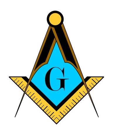 color freemason symbol illustration isolated on white background