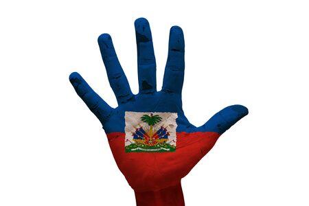haiti: man hand palm painted flag of haiti