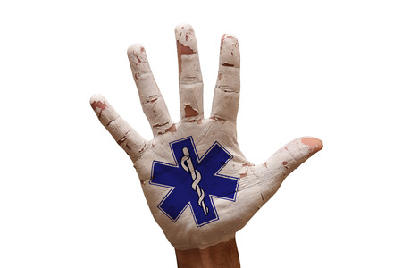 star of life: man hand palm painted life star symbol
